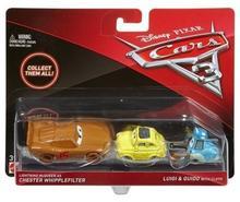 Mattel CARS 3 Dwupak Lightning McQueen as Chester Whipplefilter Luigi & Guido with Cloth Die-Cast Vehicle