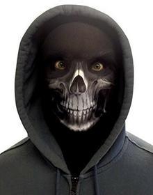 L&S PRINTS FOAM DESIGNS Halloween Biały Materiał kostucha Novelty Fun Face maska wzornictwo snood maska na twarz wyprodukowane w Yorkshire