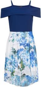 Bonprix Sukienka z dżerseju z drukowaną częścią spódnicową z szyfonu kobaltowy w kwiaty