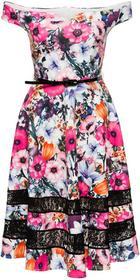 Bonprix Sukienka w kwiaty różowo-biały