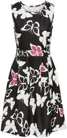 Bonprix Sukienka z nadrukiem w motyle czarno-kremowy