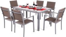 Meble ogrodowe aluminiowe Corfu Silver / Taupe 6+1