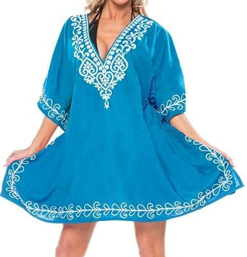 1881994106 La Leela krótka kostium kąpielowy plaża strój kąpielowy rękawy haftem  sukienka damska bluzka bikini vertuschung -