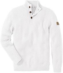 Bonprix Sweter Slim Fit biel wełny