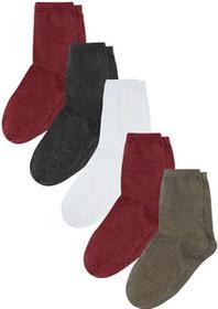 Bonprix Skarpetki damskie (5 par) czerwono-czarno-oliwkowo-biały - srebrny z połyskiem