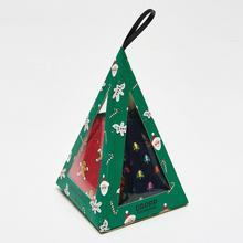 Cropp - 3 pack świątecznych skarpetek - Granatowy