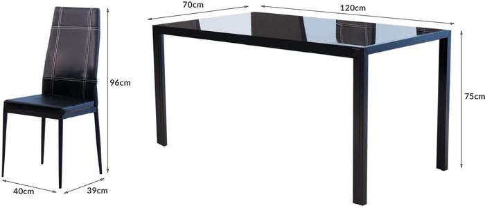 Lectus Zestaw stołowy Soma czarny stół + 4 krzesła