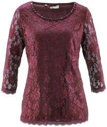 Bonprix Shirt koronkowy czerwony klonowy
