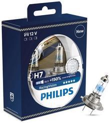 Philips Żarówki halogenowe RacingVision (+150% więcej światła) H7 12V 55W, 2 szt. 12972RVS2