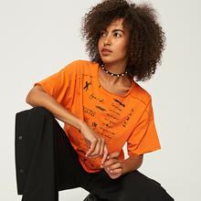 RESERVED Koszulka z nadrukiem - Pomarańczo