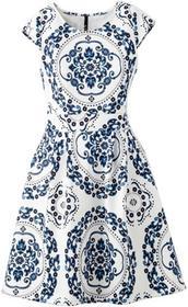 Bonprix Sukienka neoprenowa niebiesko-biały