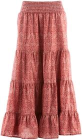 Bonprix Długa spódnica, kolekcja Maite Kelly brązowy marsala - biały z nadrukiem