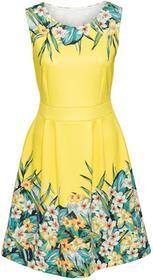 Bonprix Sukienka w kwiaty żółto-zielony w kwiaty