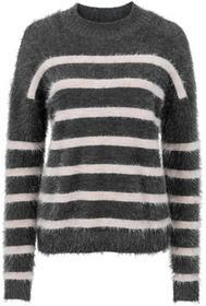 Bonprix Sweter dzianinowy antracytowo-jasnoróżowy w paski