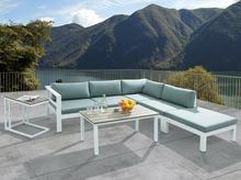 Meble ogrodowe białe - tarasowe - stół + sofa + podnóżek - MESSINA