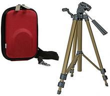 Aktions-Set Aparat fotograficzny torba Your Box Czerwony zestaw z zamkiem podróży statyw do Sony CyberShot DSC W830WX350/Canon IXUS 275HS 180175/Panasonic Lumix DMC SZ10/Nikon Coolpix A300A10 430930 + 372750