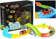Lean Toys Tor Samochodowy Neonowy z Mostem 169 el+Auta LED