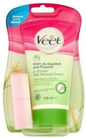 Veet krem do depilacji pod prysznic dla skóry suchej, 135 ml + gąbka