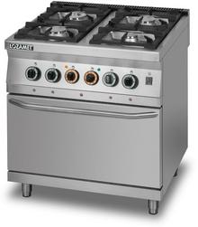 Lozamet Kuchnia gazowa 4-palnikowa z piekarnikiem elektrycznym i termoobiegiem GN 2/1, 900x900x900 mm | L900.KG4.PET L900.KG4.PET