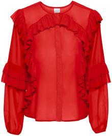 Bonprix Bluzka z falbanami czerwony