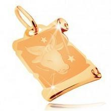 Biżuteria e-shop Lśniąco-matowa zawieszka z żółtego złota 585 - pergamin ze znakiem zodiaku BYK