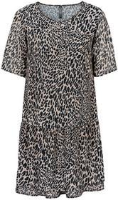 Bonprix Sukienka w cętki leoparda czarno-brązowy leo