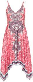 Bonprix Sukienka z dżerseju z nadrukiem i aplikacją z perełek koralowy z nadrukiem