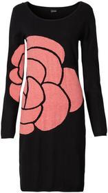 Bonprix Sukienka dzianinowa czarno-koralowy