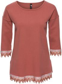 Bonprix Sweter z szydełkową plisą stary róż