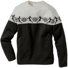 Bonprix Sweter norweski z domieszką wełny Regular Fit czarno-biel wełny wzorzysty
