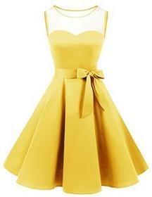 Bridesmay Brides may XX sukienka bez rękawów Vintage Retro okrągłe wycięcie pod szyją fałd Rockabilly Rock suknia wieczorowa, kolor: żółty , rozmiar: xxl B075MCL96C