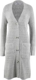 Bonprix Długi sweter bez zapięcia, długi rękaw jasnoszary melanż