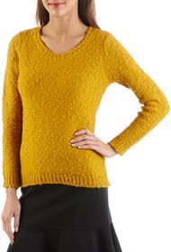 Camaeu Długi damski sweter z dzianiny bouclé 490054_0374
