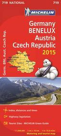 Niemcy, kraje Beneluxu, Austra, Czechy. Mapa samochodowa 1:1 000 000