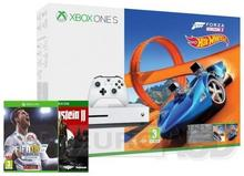 Microsoft Xbox One S 500 GB Biała + Forza Horizon 3 + Hot Wheels + Wolfenstein II The New Colossus + FIFA 18 + XBL 6 m