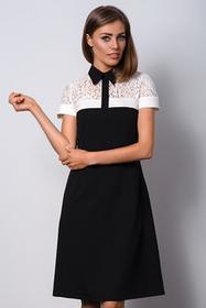 Elegancka czarna sukienka z kołnierzykiem