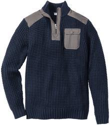 Bonprix Sweter ze stójką Slim Fit intensywny niebieski