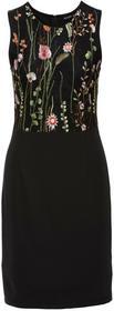 Bonprix Sukienka z kwiatowym haftem czarny