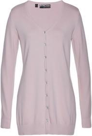 Bonprix Długi sweter rozpinany matowy jasnoróżowy