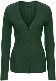 Bonprix Sweter rozpinany w prążek głęboki zielony