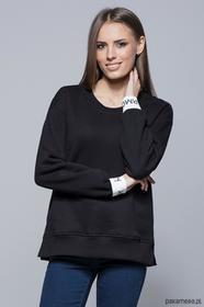 Bawełniana bluza z ozdobna guma-czarna H008