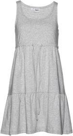 Bonprix Sukienka dżersejowa z wiązanym paskiem jasnoszary melanż