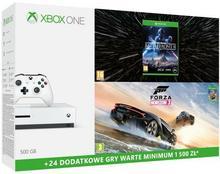 Microsoft Xbox One S Biały 500 GB +  Forza Horizon 3 + Hot Wheels + Star Wars Battlefront II + XBL 6 m