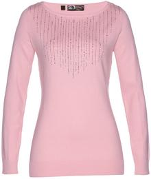 Bonprix Sweter jasnoróżowy pudrowy