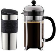 Bodum czajnik do kawy (poj. 8 filiżanek) i kubek podróżny 0,35 l, stal nierdzewna i silikon, kolor czarny K11068-01
