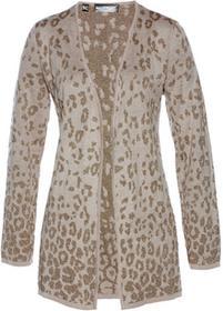 Bonprix Sweter bez zapięcia kamienisto-jasnobrązowo-złoty