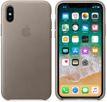 Apple Leather Case do iPhone X Taupe