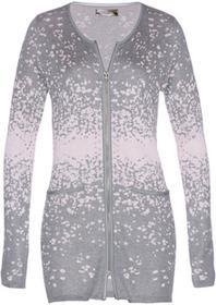 Bonprix Długi sweter rozpinany z dzianiny żakardowej szary melanż - pastelowy jasnoróżowy
