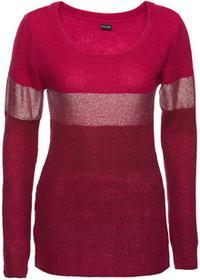 Bonprix Sweter z metalicznym nadrukiem czerwony klonowy - jeżynowo-srebrny