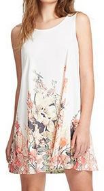Romwe romwe damska sukienka letnia sukienka damska bez rękawów z wzorem w kwiaty Print Casual Locker linia A Biały, kolor: biały , rozmiar: l B071CJRJHL